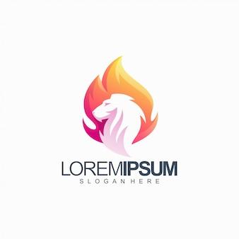 Ilustración de vector de león colorido diseño de logotipo