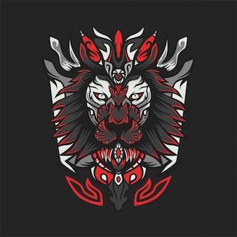 Ilustración de vector de león x cazador