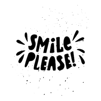Ilustración de vector con letras. sonríe por favor