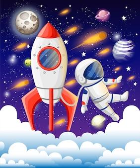 Ilustración de vector de libro abierto con elementos espaciales: sistema solar, transbordador espacial, planetas, estrellas, tierra, cometa. concepto de imaginación hecho en estilo plano.