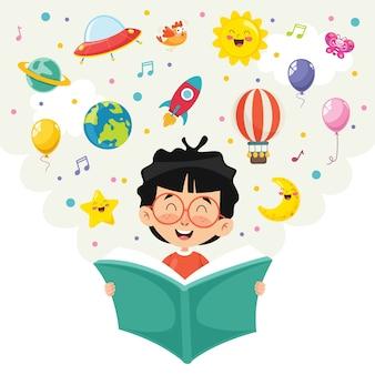 Ilustración del vector del libro de lectura del niño