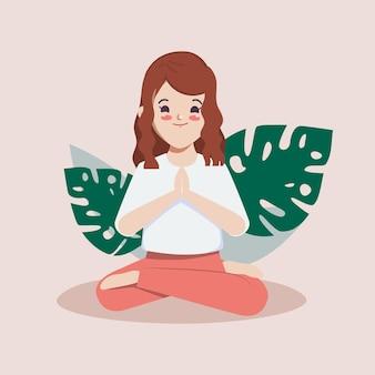 Ilustración de vector de linda chica de dibujos animados en pose de personaje de yoga para saludable