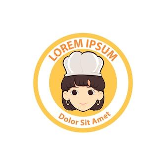 Ilustración de vector de linda mujer chef cartoon logo insignia