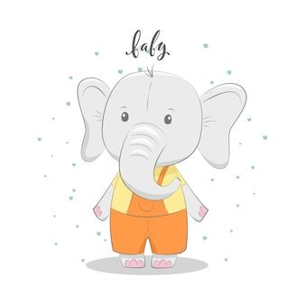 Ilustración de vector lindo con bebé elefante