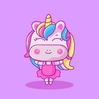 Ilustración de vector de lindo bebé unicornio bailarina