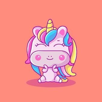 Ilustración de vector de lindo bebé unicornio