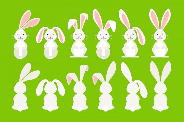 Ilustración de vector lindo conejo ostern. conejito de dibujos animados de pascua aislado