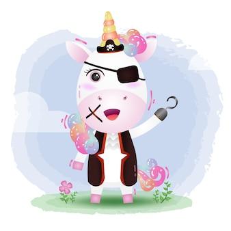 Ilustración de vector lindo piratas unicornio