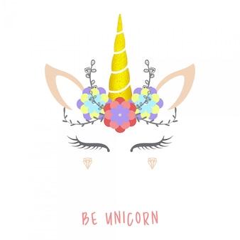 Ilustración de vector lindo unicornio.