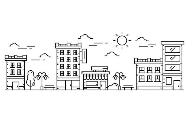 Ilustración de vector de línea de ciudad