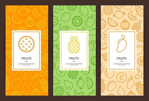 Ilustración de vector línea frutas iconos flyer plantillas