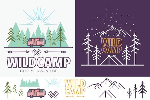 Ilustración de vector lineal de campamento de bosque