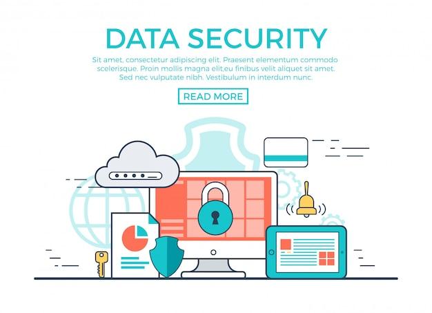 Ilustración de vector lineal de concepto de seguridad de datos con plantilla de texto