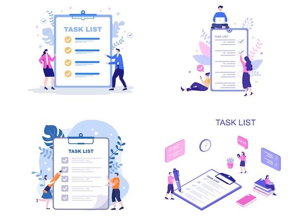 Ilustración de vector de lista de tareas para hacer la lista de gestión del tiempo, planificación del trabajo u organización de objetivos diarios. plantilla de página de destino
