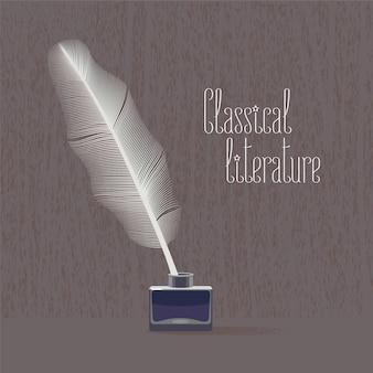 Ilustración de vector de literatura clásica, clásica con pluma de ave y tinta