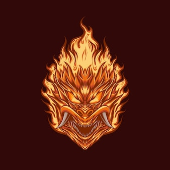 Ilustración de vector de llama de demonio cabeza