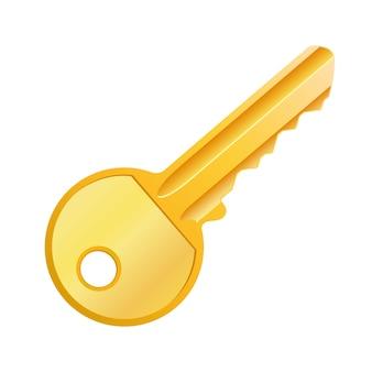 Ilustración de vector de llave de oro aislada | Vector Premium