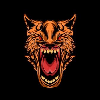 Ilustración de vector de lobo enojado