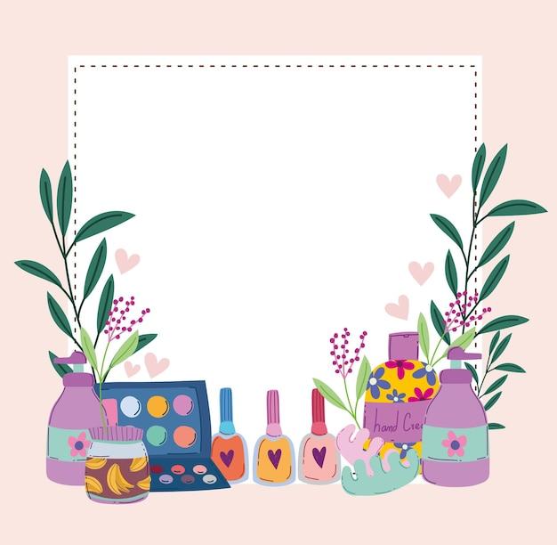 Ilustración de vector de loción de crema de esmalte de uñas paleta de sombra de ojos de maquillaje de belleza