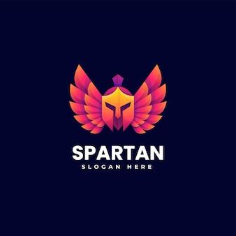 Ilustración vector logo estilo espartano degradado colorido