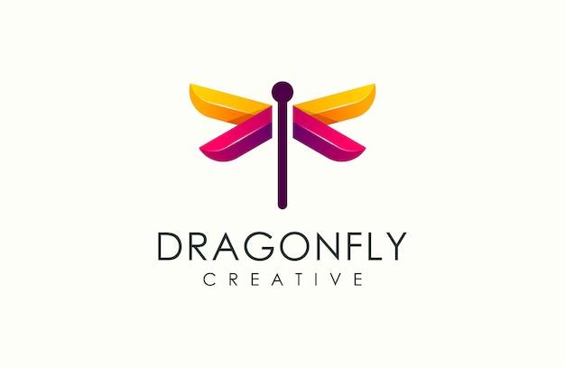 Ilustración de vector de logotipo colorido libélula moderna