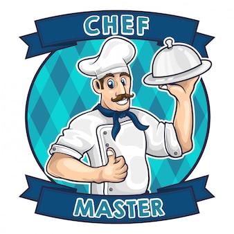 Ilustración de vector de logotipo de dibujos animados de chef
