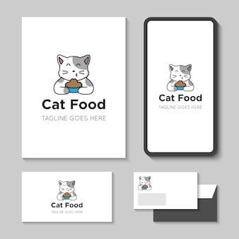 Ilustración de vector de logotipo e icono de comida para gatos con plantilla de aplicación móvil
