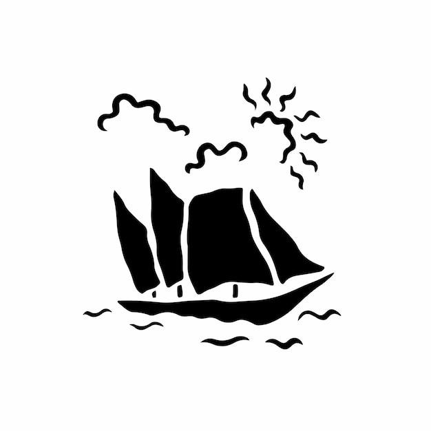 Ilustración de vector de logotipo de símbolo de barco