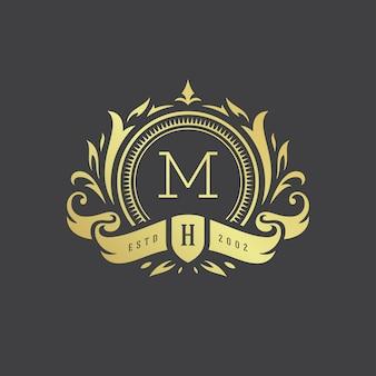 Ilustración de vector de lujo vintage ornamento logo monograma cresta plantilla diseño