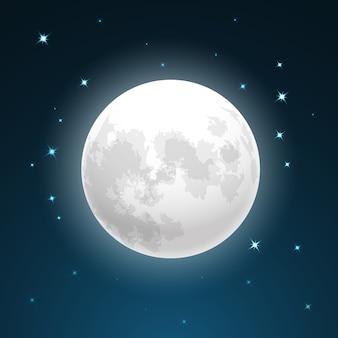 Ilustración de vector de luna llena de cerca y alrededor de las estrellas