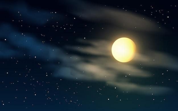 Ilustración de vector con luna llena y nubes en la noche estrellada