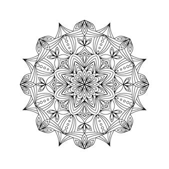 Ilustración de vector de mandala de contorno
