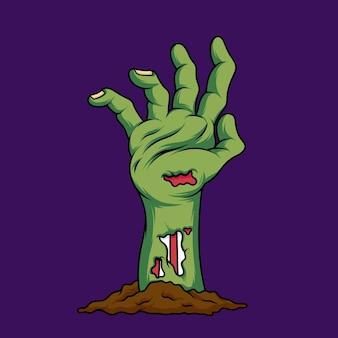 Ilustración de vector de mano zombie sobre fondo aislado
