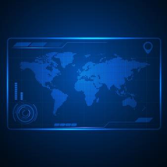 Ilustración de vector de mapa mundial futuro tecnología