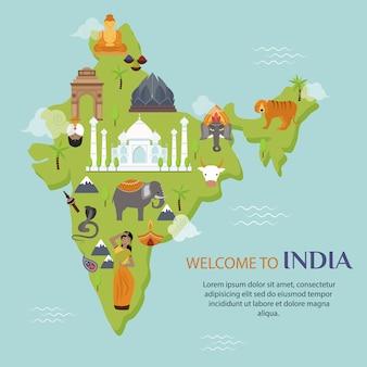 Ilustración de vector de mapa de viajes de hito de india
