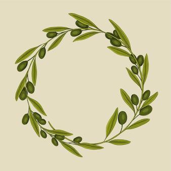 Ilustración de vector de marco de corona de olivo