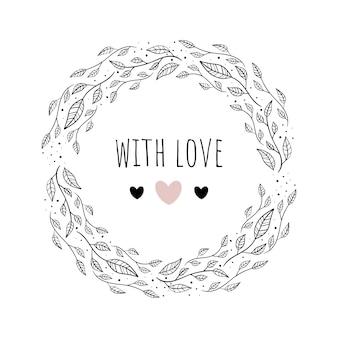 Ilustración de vector con marco floral amor.