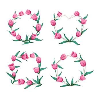 Ilustración de vector de marco floral de la boda