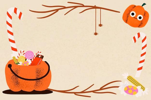 Ilustración de vector de marco de halloween, linda calabaza de truco o trato