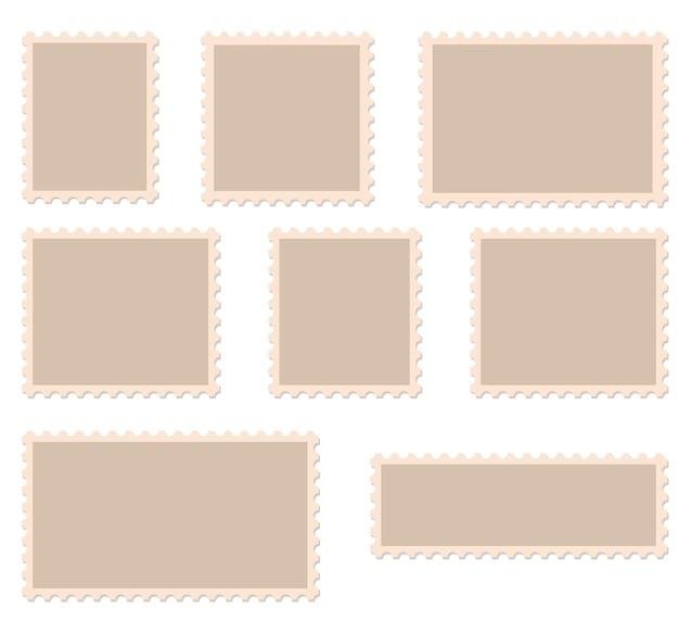 Ilustración de vector de marcos de sellos postales en blanco.