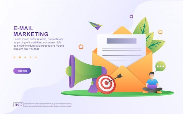 Ilustración de vector de marketing por correo electrónico y concepto de mensaje con