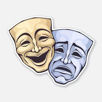 Ilustración de vector de máscara de comedia y drama teatral dos
