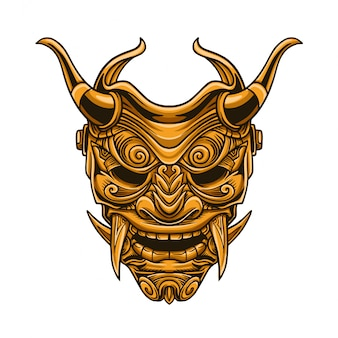 Ilustración de vector de máscara de samurai de oro