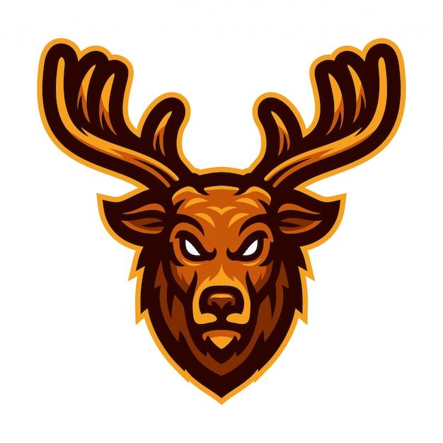Ilustración de vector de mascota cabeza de ciervo