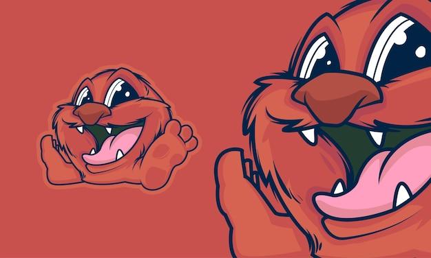 Ilustración de vector de mascota de dibujos animados de pequeño monstruo adorable