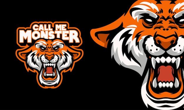 Ilustración de vector de mascota de logotipo de deportes de cabeza de tigre enojado