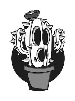 Ilustración de vector de mascota de monstruo de cactus blanco y negro