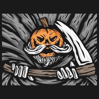 Ilustración de vector de mascota de personaje de parca de calabaza