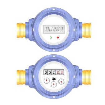 Ilustración de vector de medidor de agua electrónico y analógico realista. equipo sanitario
