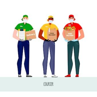 Ilustración de vector con mensajeros. personas con máscaras protectoras y guantes.